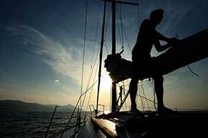 Silhouette vom Schiff auf Mallorca